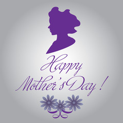 Abstract colorful background with female head silhouette, flowers and the text Happy Mother's Day written with handwritten letters