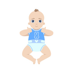Baby In Blue Showing Thumbs Up