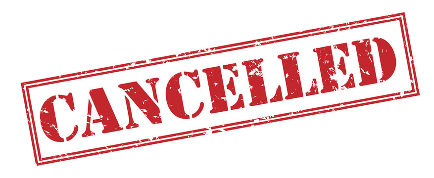 cancelled red stamp on white background