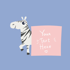 Zebra With The Template For The Message