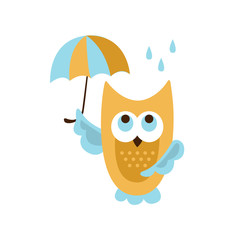 Owl With Umbrella Under Rain
