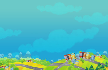 Cartoon scene of a small town - with space for text - illustration for children