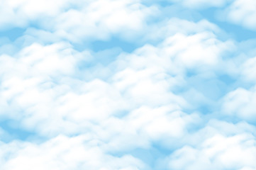 Cloudscape Seamless Background, White Clouds on Blue Sky. Vector