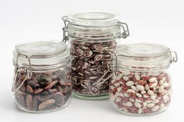 Getrocknete Bohnen - verschiedene Sorten