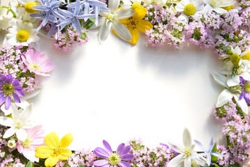 white board with garden flowers