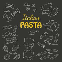 Set Italian pasta on a dark background