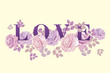 love poster template rose vector illustration