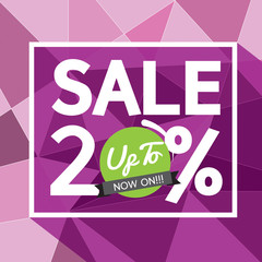 Sale Uo To 20 Percent Banner Vector Illustration.