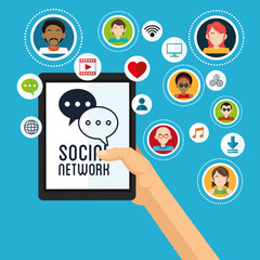 Social media design. Networking icon. Technology concept
