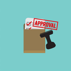 Document Approval Stamp Vector Illustration.