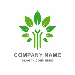 Green Farm Nature Vector Logo Template