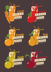 set of drawings fruits and glass with the names of for fresh juice