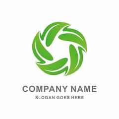 Geometric Star Leaf Vector Logo Template