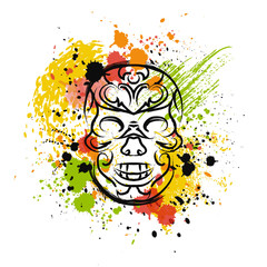 Skull with splashes in watercolor style. Mexican traditional style colors. Vector illustration
