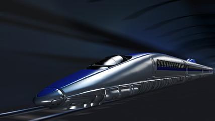 Hochgeschwindigkeitszug bei voller Fahrt im Tunnel
