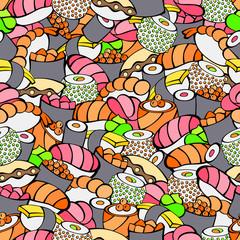 Sushi food color seamless pattern illustration vector