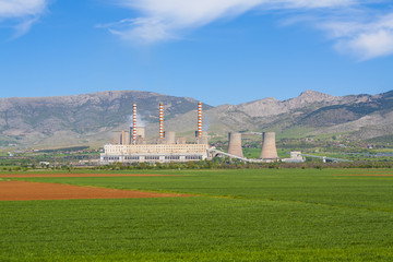 Nuclear power plant and agriculture green field