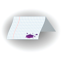 Sheet of school notebook with a curved ink blots . Vector illustration on white background