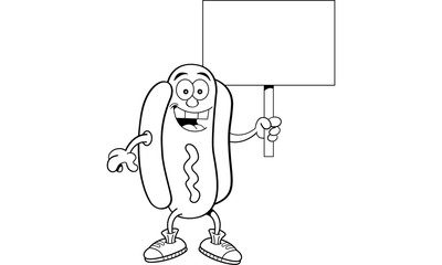 Black and white illustration of a hotdog holding a sign.