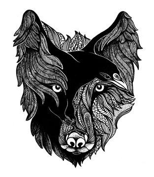 Wolf and Raven Art Illustration