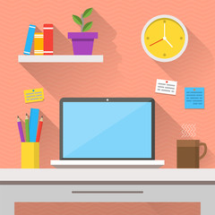 Flat design vector illustration of modern office interior. Creative cartoon office workspace with computer, notes, folders, books, plants, mug, clock. Flat minimalistic style and color, long shadows.