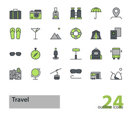Set of outline travel, tourism icons. Green and grey colors.