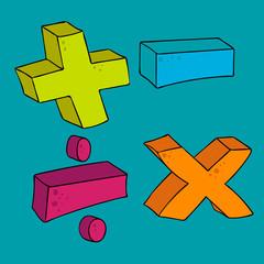 freehand drawn cartoon math symbols
