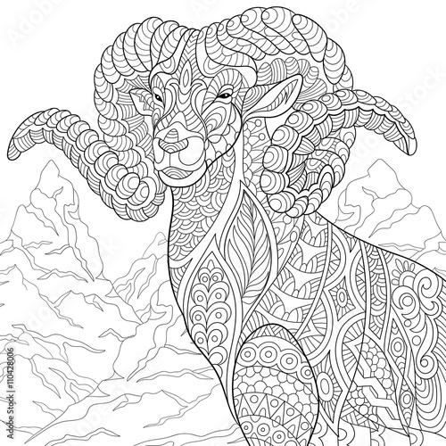 Leuke Kleurplaten Dieren Hond Moeilijk Quot Zentangle Stylized Cartoon Goat Ram Ibex Aries