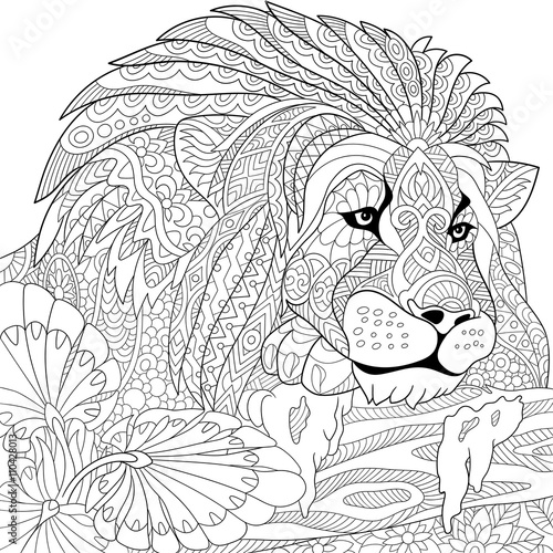 Zentangle stylized cartoon lion wild cat leo zodiac for Leo coloring pages