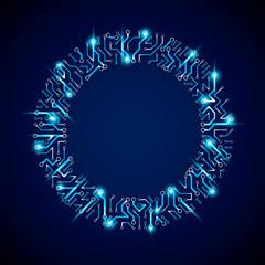 Technology communication luminescent cybernetic element. Vector
