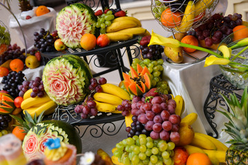 Different type of fruits on table, wedding day
