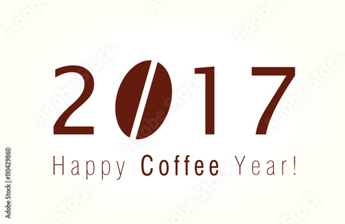 Happy 2017 New Year Logo Christmas Card With Coffee Bean For Cafes And Companies