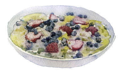 watercolor muesli in a bowl on a white background