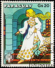 Cinderella runs down the stairs - scene from a fairy tale on pos