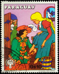 Cinderella and Prince - scene from a fairy tale on postage stamp