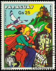 Cinderella and Prince at horse - scene from a fairy tale on post