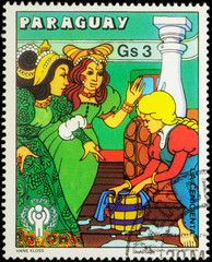 "Scene from a fairy tale ""Cinderella"" (Brothers Grimm) on postage"