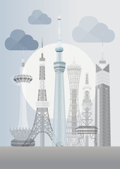 Japan Famous Tower Series Vector - Tokyo Skytree