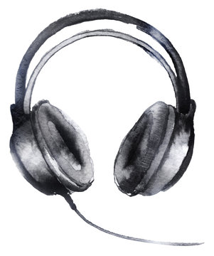 watercolor sketch: headphones on a white background