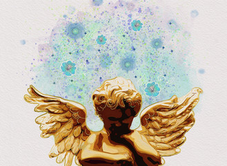 Angel thinking and dreaming. Contemporary Art. Watercolor.