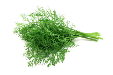 big bunch of dill on white background