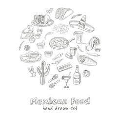 Vector hand drawn set of Mexican food