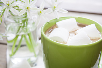 Hot cocoa chocolate with marshmallows in green cup on napkin and fresh spring white flowers on wooden table