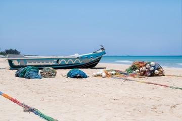traditional fishing boat on the beach, Sri Lanka