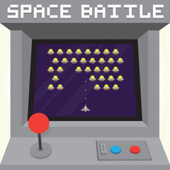Old school pixel art style ufo arcade machine game cabinet vector