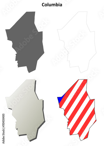quotcolumbia county pennsylvania outline map setquot stock
