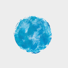 Round blue spot of paint. Vector acrylic texture
