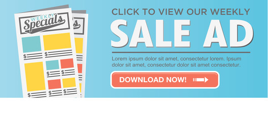 Download or View Our Online Weekly Sale Ad Flyer Circular CTA with Button and Call to Action`
