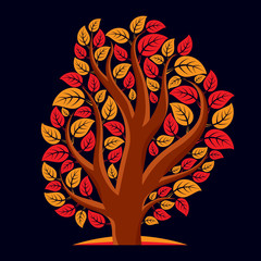 Artistic  illustration of autumn branchy tree with red leaves