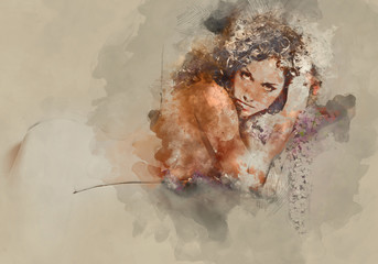 Silhouette of a naked woman. Digital watercolor painting